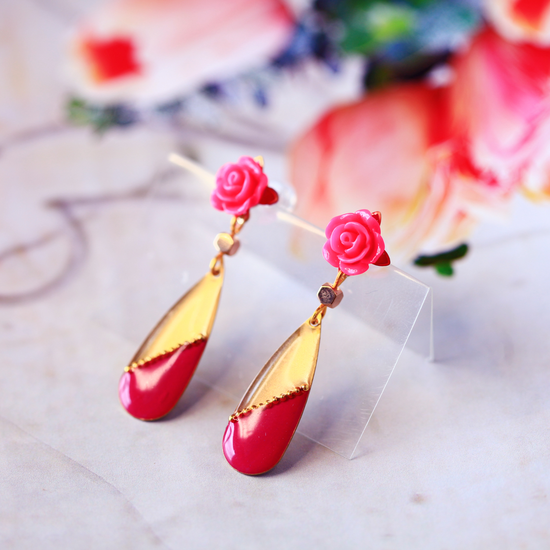 Molla 紫桃紅小水滴耳環(FLAMENCO佛朗明哥舞者最愛-純銀針手工訂製)