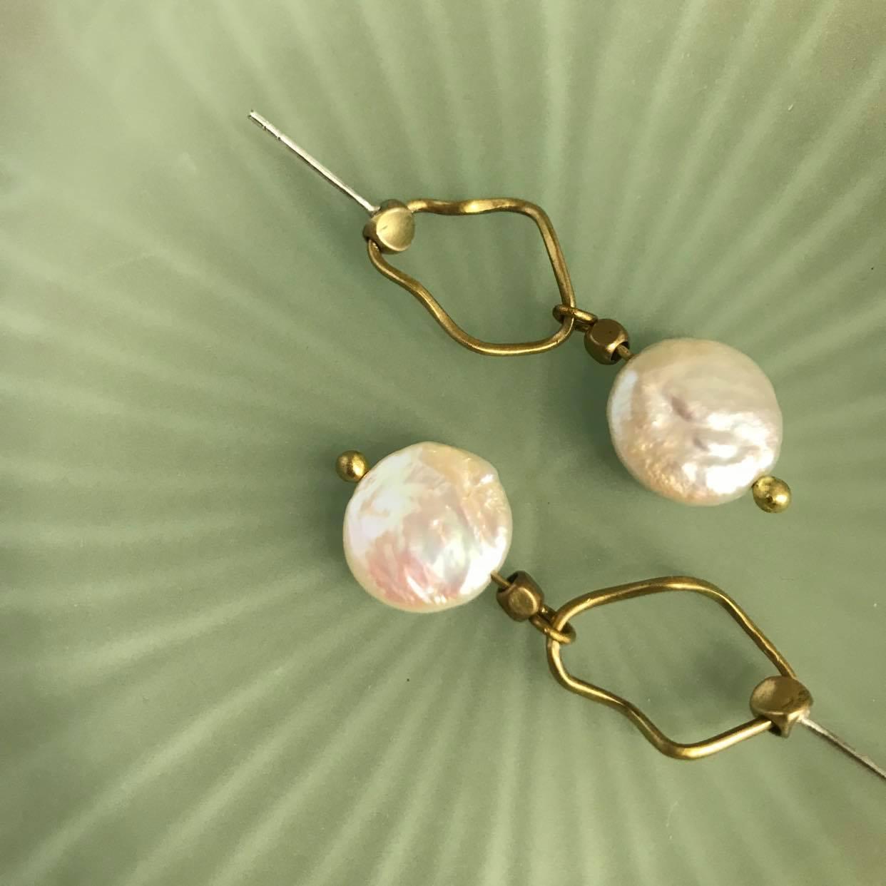 浪花珍珠耳環
