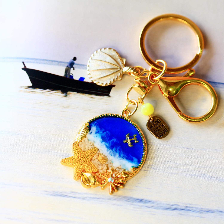 Molla 藍色奇幻海洋-小海星吊飾(文青最愛手作吊飾、鑰匙圈、包包吊飾)