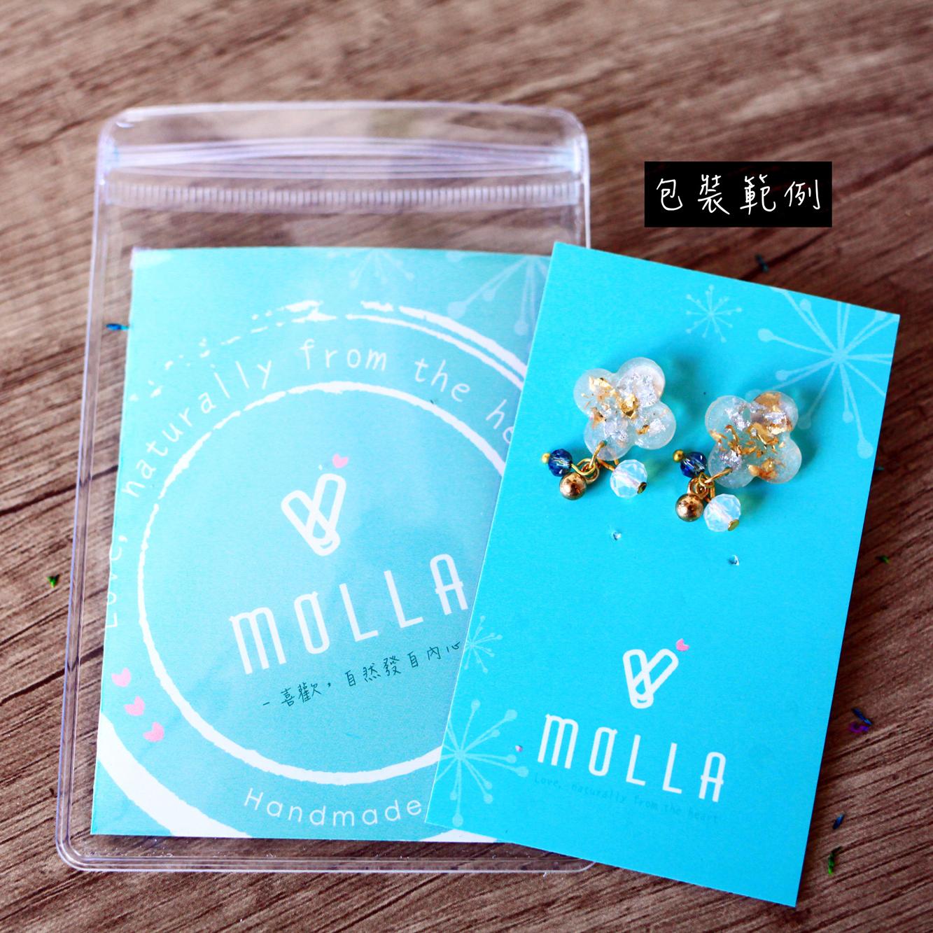 Molla 果綠箔金半圓兩用耳環(純銀針耳環-手工訂製)