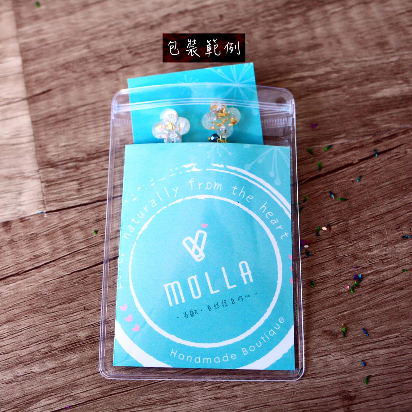 Molla 海藍箔金半圓兩用耳環(純銀針耳環-手工訂製)